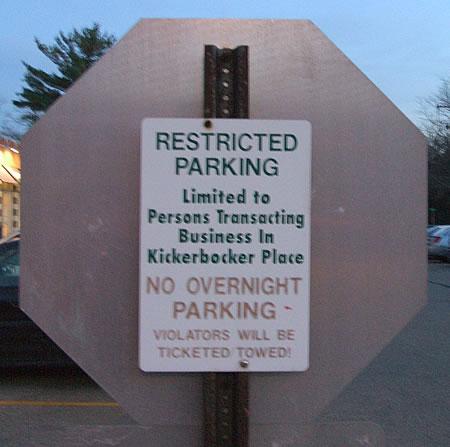 Kickerbocker (sic) Place sign outside Alex Polish American Deli