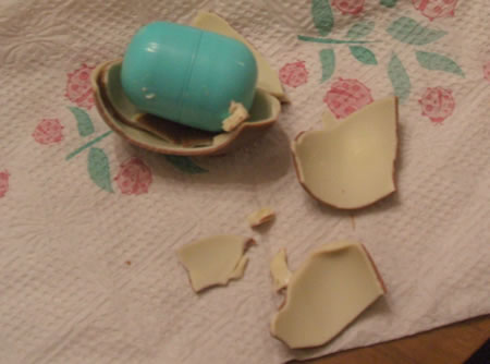 Kinder Surprise egg from Alex Polish American Deli, broken open