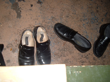 Shoes off for the King Tut room