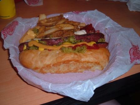 Fuddrucker's hot dog, after