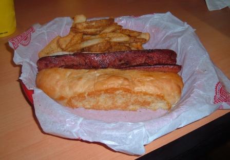 Fuddrucker's hot dog, before